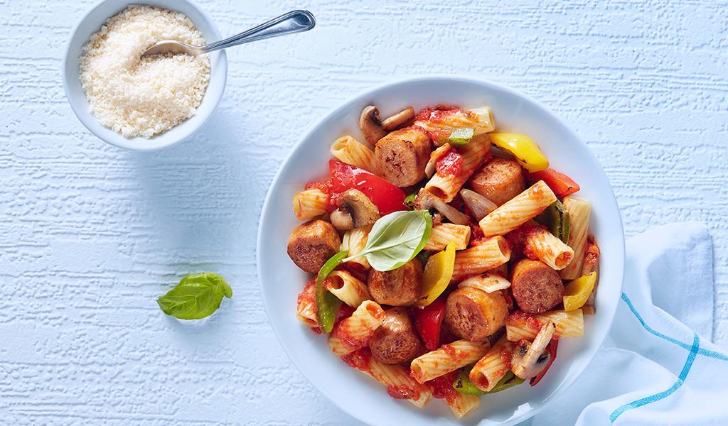 Pennes à la saucisse italienne et aux légumes