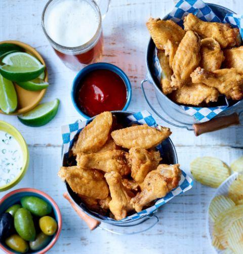 Ailes de poulet nature, coupées, assaisonnées, entièrement cuites Halal