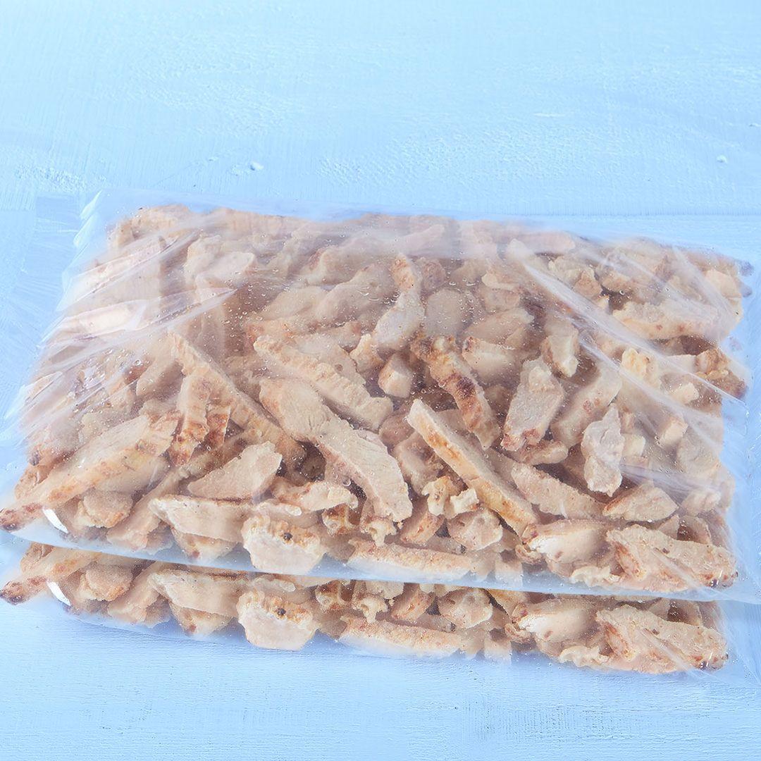 Lanière de poitrine de poulet assaisonnées, entièrement cuites