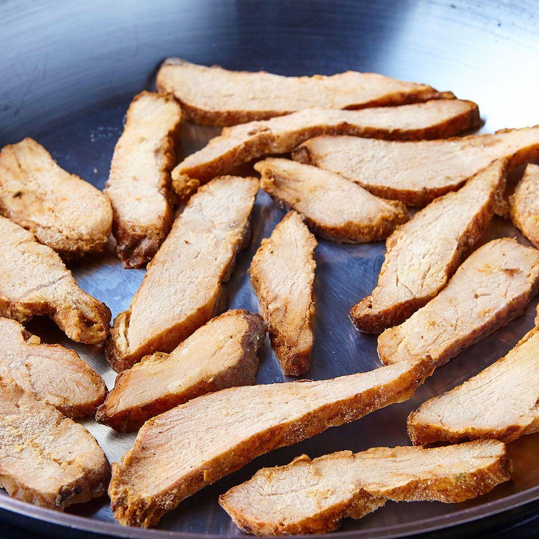 Fajita-style pork strips, fully cooked (seasoned)