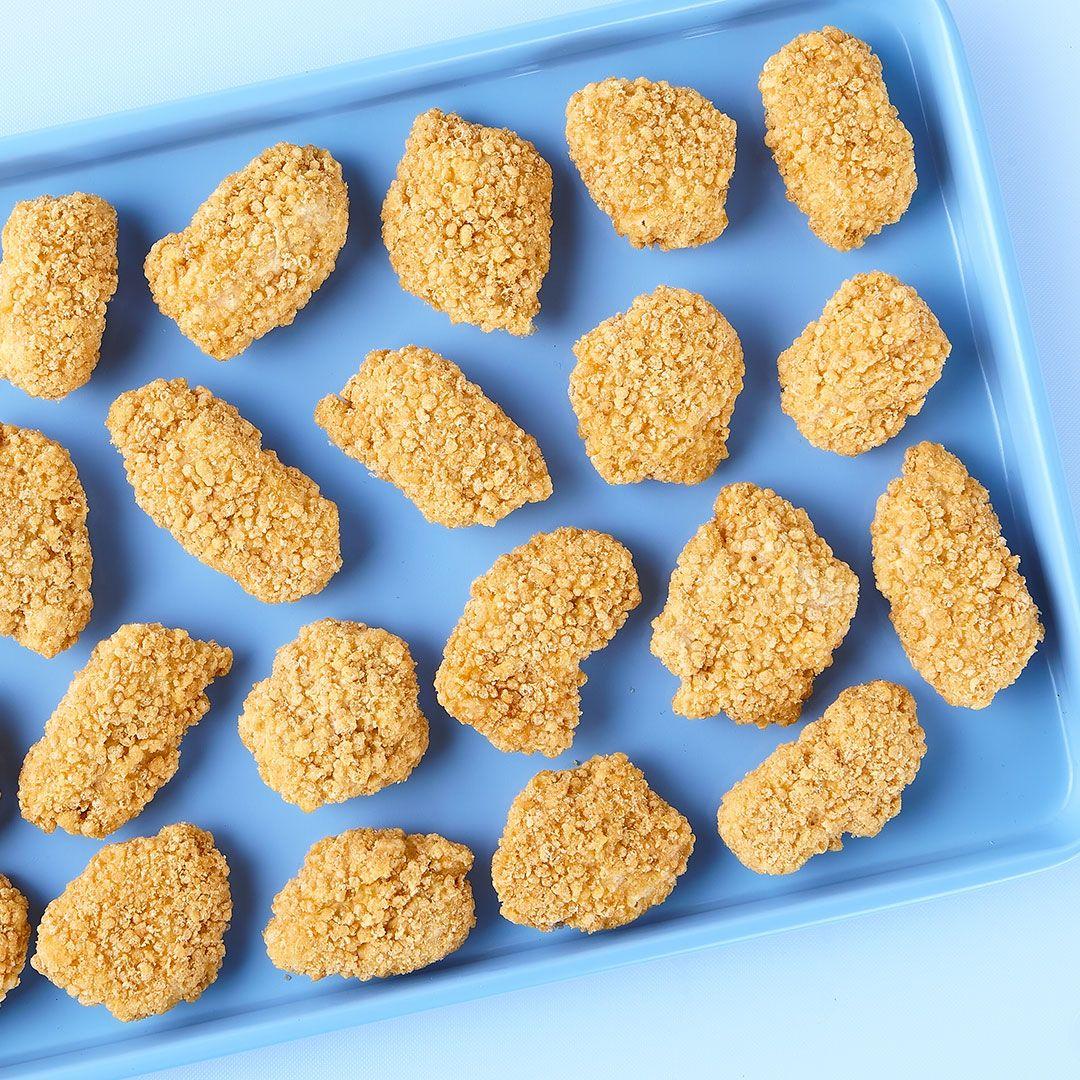 Breaded seasoned chicken breast chunks, fully cooked, gluten-free