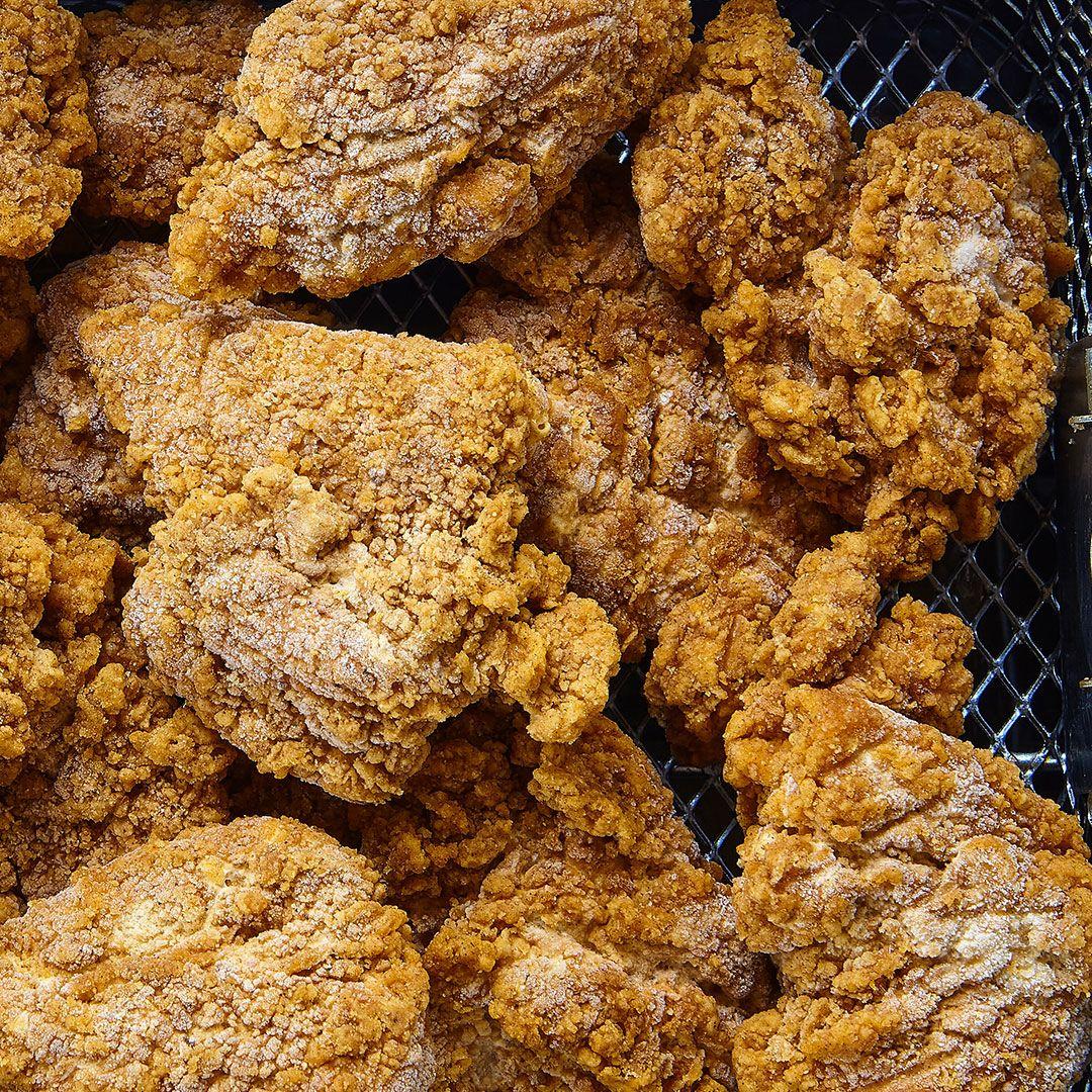 Breaded boneless chicken thigh chunks, fully cooked (seasoned)