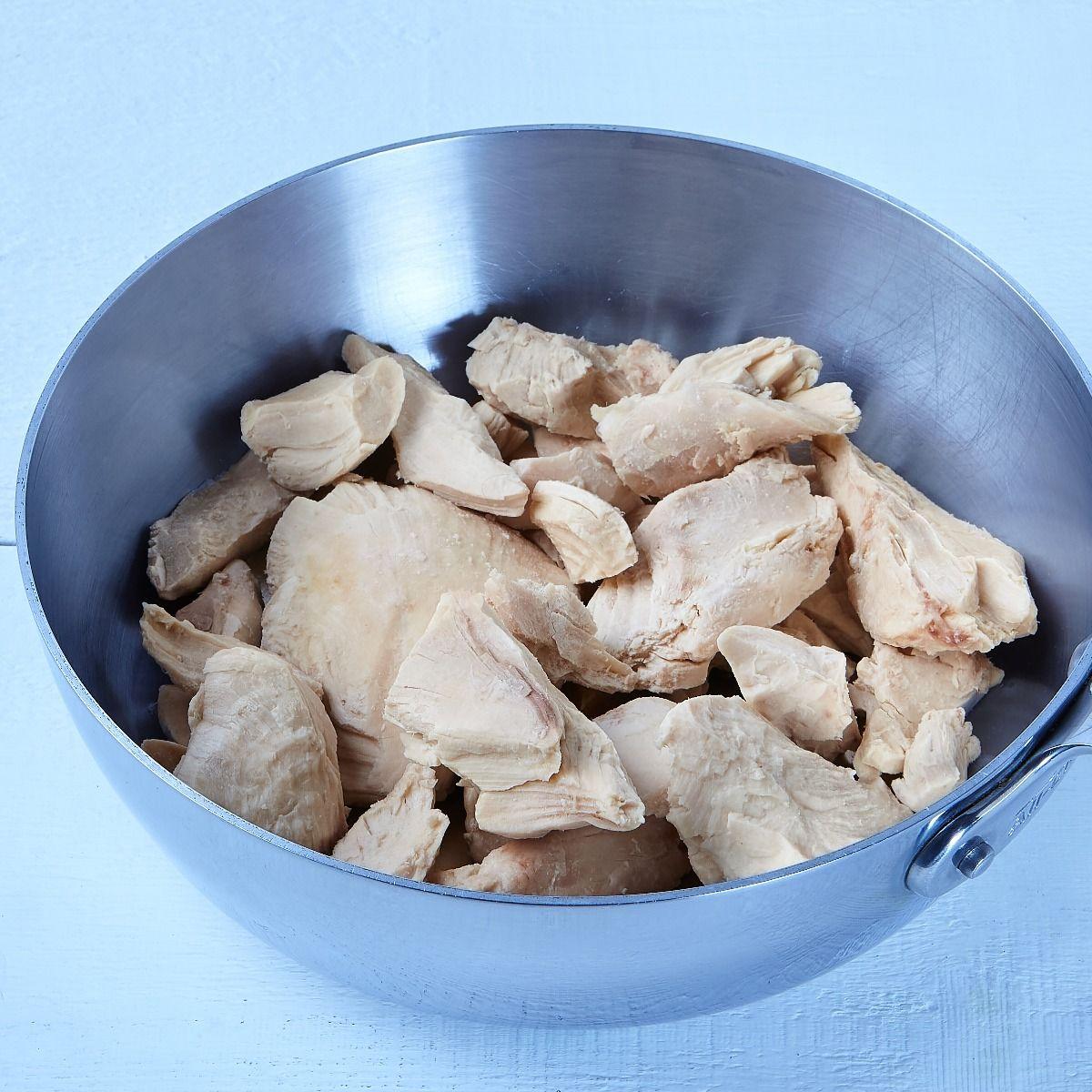 Morceaux de poitrine de poulet, entièrement cuits