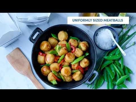 Oven-ready all white meat battered chicken balls (seasoned)