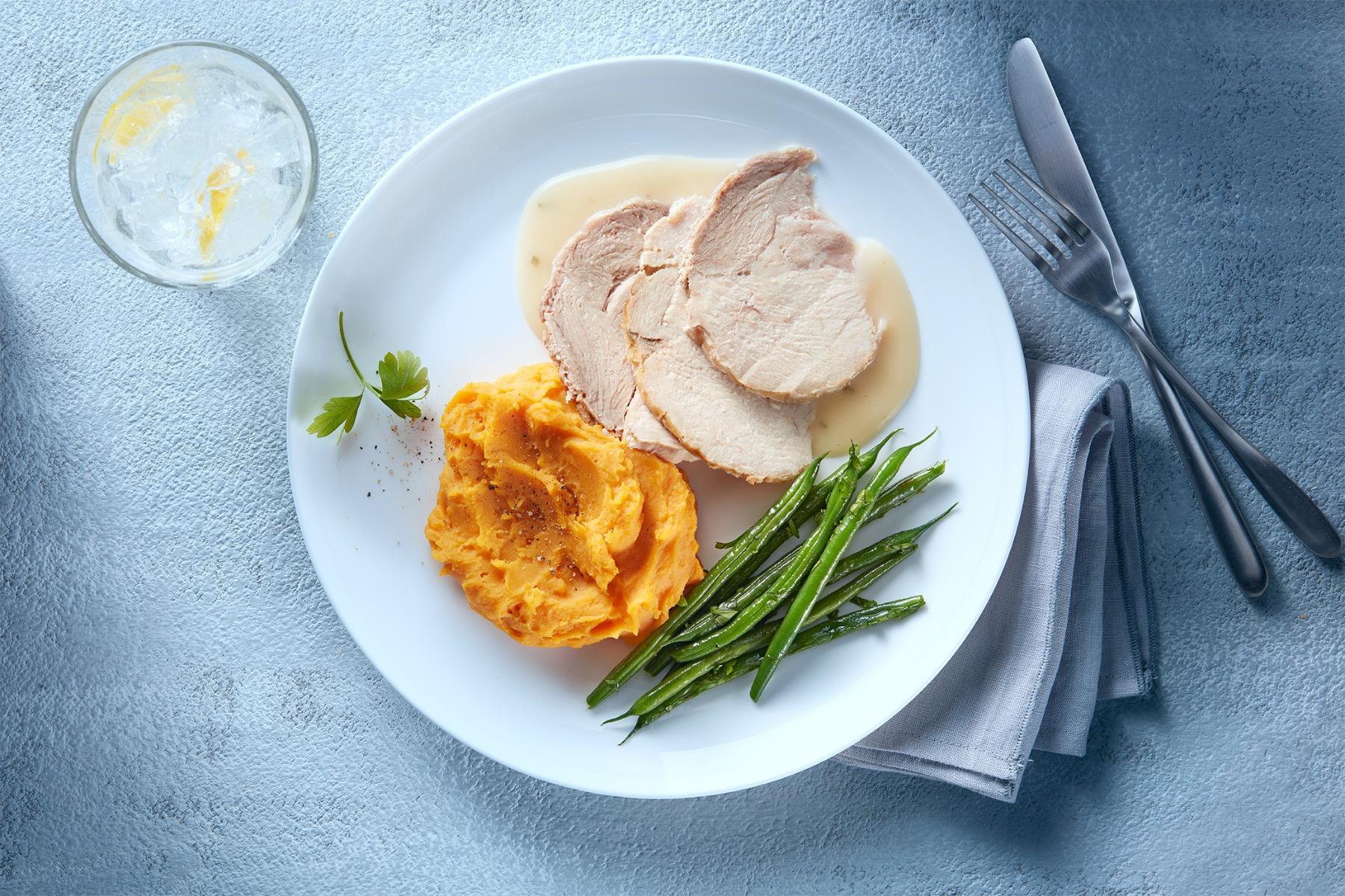 Sliced turkey roast